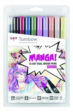 Sada oboustranných fixů ABT DUAL BRUSH PEN – Manga set Shojo, 10 ks