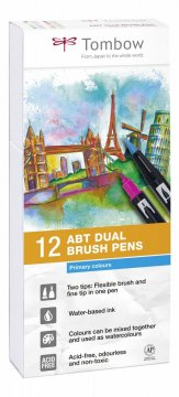 Sada oboustranných fixů ABT DUAL BRUSH PEN – Primary colours, 12 ks