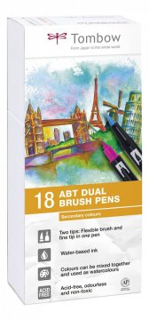 Sada oboustranných fixů ABT DUAL BRUSH PEN – Secundary colors, 18 ks