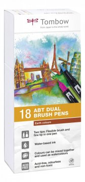 Sada oboustranných fixů ABT DUAL BRUSH PEN – Earth colours, 18 ks