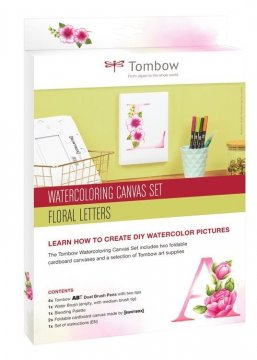 Tombow Sada Watercoloring Canvas Set Floral Letters
