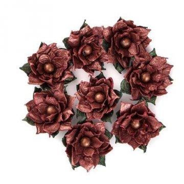 Květy papírové 8ks, metalické červené