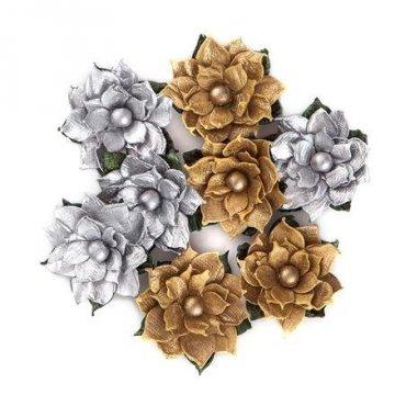 Květy papírové 8ks, stříbrné a zlaté