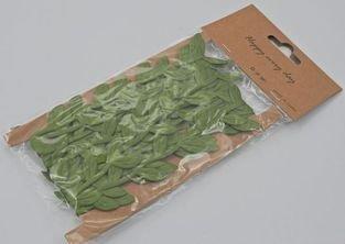 Stuha zelené listy v sáčku, 5m