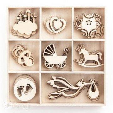 Dřevěné dekorace BABY 40 ks