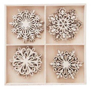 Dřevěné dekorace sněhové vločky 20 ks