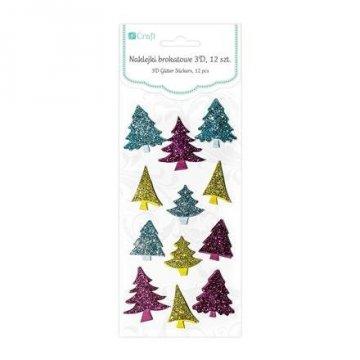 Brokátové 3D samolepky – vánoční stromeček, 12 ks, pestré