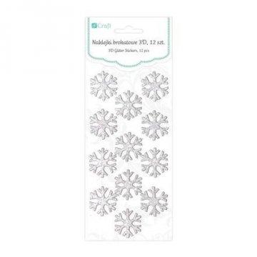 Brokátové 3D samolepky – sněhové vločky, 12 ks