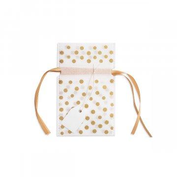 Dárková taška látková 10x16cm, zlatá