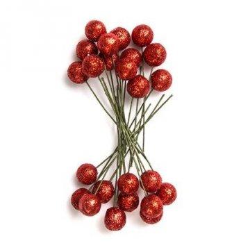 Plody cesmíny 1,2cm 24 ks červené brokát