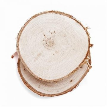 Dřevěný plátek s kůrou, 2 ks