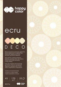 Blok Deco Ecru A5, 170g, 20 listů, 4 barvy – odstíny ecru
