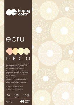 Blok Deco Ecru A4, 170g, 20 listů, 4 barvy – odstíny ecru