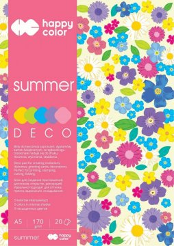 Blok Deco Summer A5, 170g, 20 listů, 5 barev