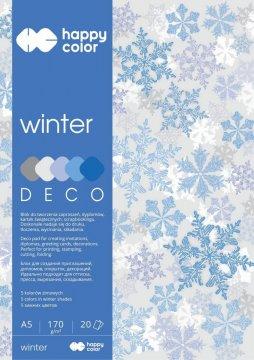 Blok Deco Winter 170 g/m2, A5, 20 listů, 5 barev