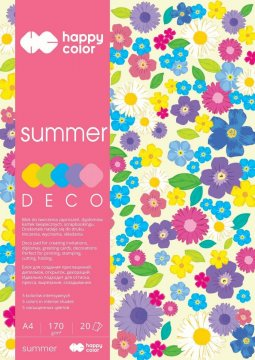 Blok Deco Summer A4, 170g, 20 listů, 5 barev