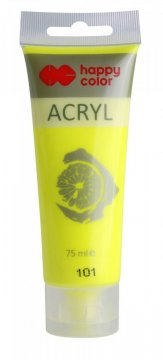 Akrylová barva FLUORESCENT v tubě 75 ml, žlutá