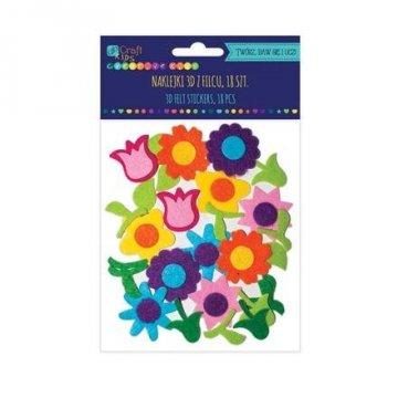 Filcové 3D samolepky – květy, 18 ks