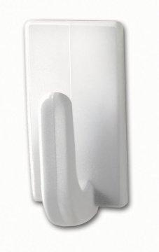 Háčky, obdélníkové malé háčky, bílý plast, nosnost 1kg, v balení 3ks