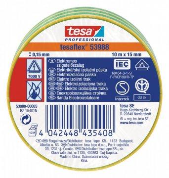 Elektroizolační PVC páska, splňuje normu IEC, zeleno-žluté proužkování, 10m x 15 mm