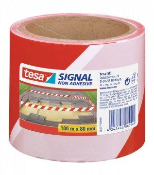 Bariérová výstražná páska, bez lepidla, červeno-bílá pole, 100m x 80mm