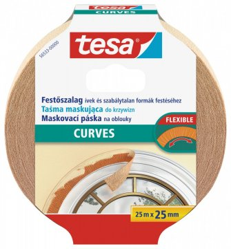 Maskovací páska Flexible, na oblouky, silně krepovaná, okrová, 25m x 25mm