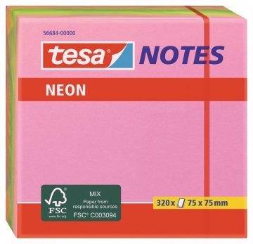 Samolepicí poznámkové bločky Neon 320 listů, růžová, žlutá, zelená, 75mm x 75mm